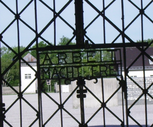 """""""Work will set you free."""" This is the main gate to Dachau."""