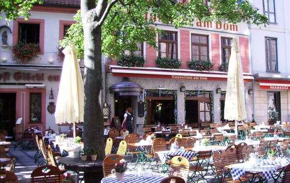 Street-side cafes are welcoming on this sunny day!