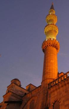 Turkish turret projecting the adhan (call to prayer)