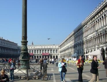Tourists + birds alike flock to Piazza San Marco.