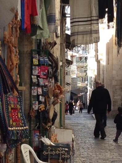 Jerusalem is a stone city, and this is a view of Via Dolorosa.