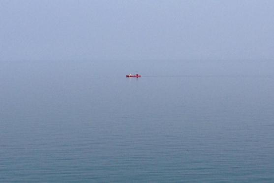 The red body of this lone canoe starkly contrasts with the soft blue Sea of Galilee, perhaps the best shot of the trip.