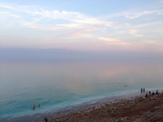 The Dead Sea is so concentrated with salt that the shore is white with salt stalagmites. — at En Gedi