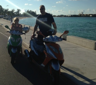 Pops enjoyed the scooter ride, too.