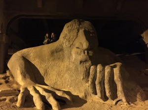 The Fremont Troll under George Washington Memorial Bridge