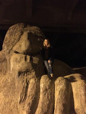 The Fremont Troll under George Washington Memorial Bridge