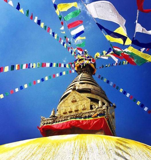 Swayambhunath, atop a hill in the Kathmandu Valley